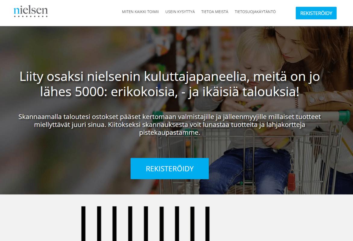 Nielsen kuluttajapaneeli FI kokemuksia tuotteiden skannaaminen